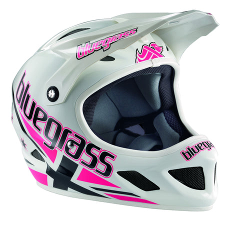 Bluegrass Brave Full Face Helmet, White with Pink Union Jack