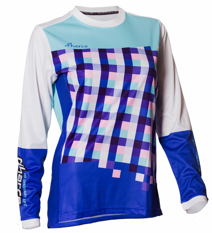 DHaRCO Ladies Gravity Jersey - blue checkers, Longsleeve MTB DH/Freeride 1