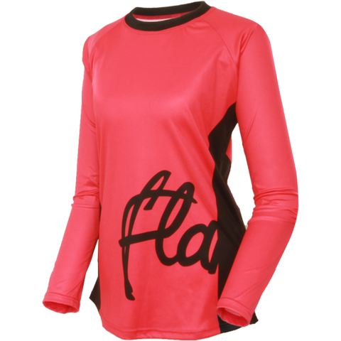 Flare Clothing Co - Womens Cycling MTB Jersey - Solid Pink Long Sleeved Jersey