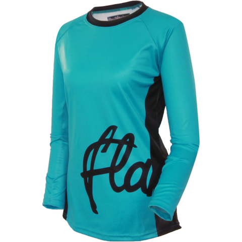 Flare Clothing Co - Womens Cycling MTB Jersey - Solid Teal Long Sleeved Jersey 1