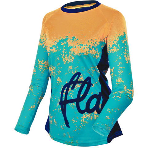Flare Clothing Co - Womens Cycling MTB Jersey - Roost Teal Yellow Long Sleeved Jersey 1