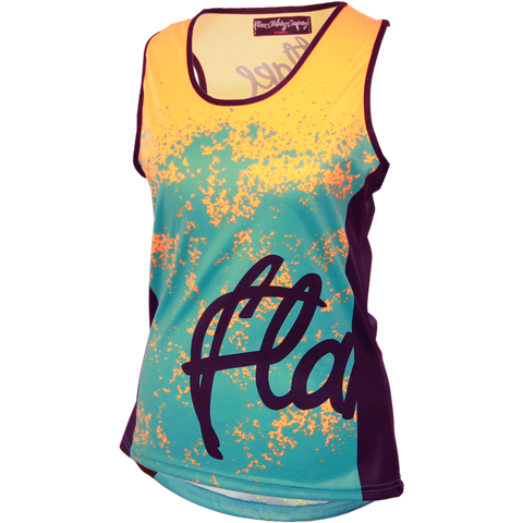 Flare Clothing Co - Womens Cycling MTB Vest - Roost Teal Yellow Tank Jersey