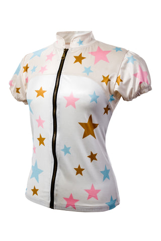 Ana Nichoola Women's Star Jersey, White, Women's Cycle Jersey