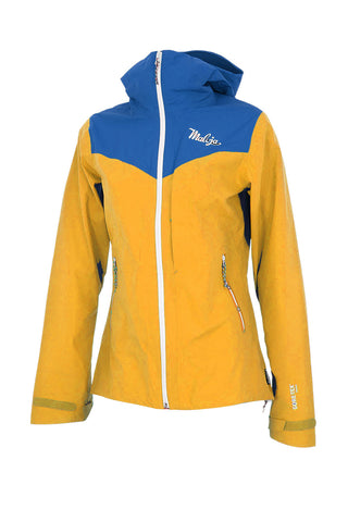Maloja JabalM Women's High End Waterproof Jacket, Blue & Yellow, Women's Cycling Jacket