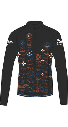 Maloja QudayaM women's warm cycling jacket Moonless black with abstract floral design