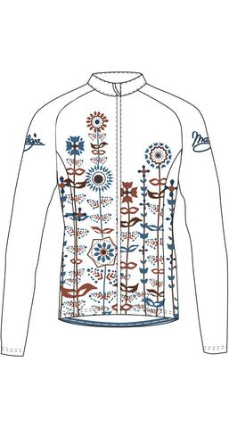 Maloja QudayaM women's warm cycling jacket, Snow, white with abstract floral design