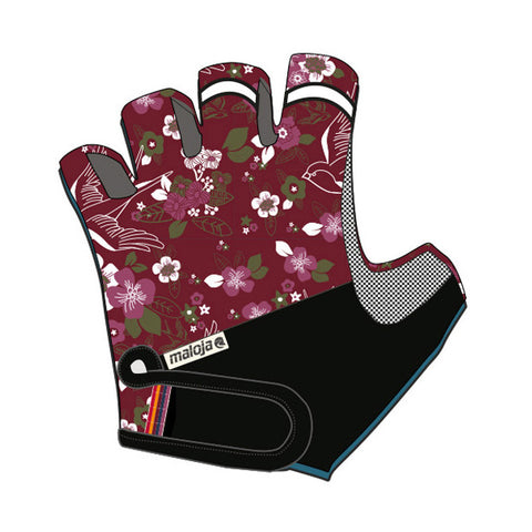 Maloja DorisM Women's Cycling Bike Gloves, Cadillac red floral, for MTB Road XC Relaxed Cycling