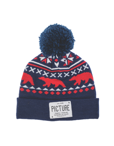 Picture Organic Clothing, Racoon Beanie, Marine, blue red white