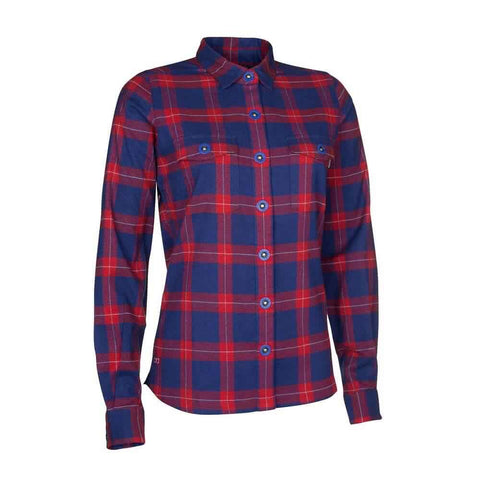 Womens MTB Technical Shirt - ION, IS, Violet Red/Blue Check front