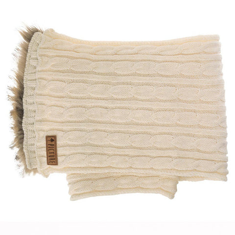 picture-organic clothing womens knitted idea scarf white with faux fur