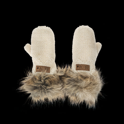 Nation Gloves from Picture Organic Clothing white knitted with faux fur cuffs