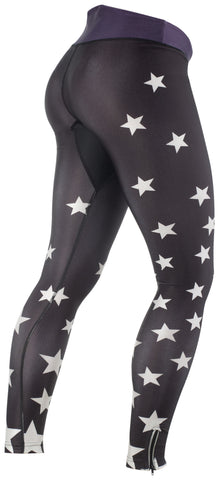 Ana Nichoola Women's Star Cycling Bike MTB Tights black with white stars