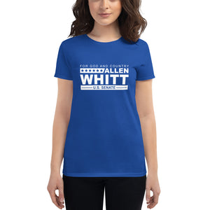 Allen Whitt for U.S. Senate Women's short sleeve t-shirt Royal Blue - Allen Whitt West Virginia Republican Campaign for U.S. Senate