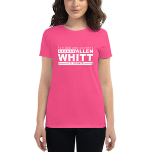 Allen Whitt for U.S. Senate Women's short sleeve t-shirt Hot Pink - Allen Whitt West Virginia Republican Campaign for U.S. Senate