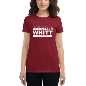 Allen Whitt for U.S. Senate Women's short sleeve t-shirt Independence Red - Allen Whitt West Virginia Republican Campaign for U.S. Senate