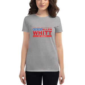 Women's short sleeve t-shirt Heather Grey - Allen Whitt West Virginia Republican Campaign for U.S. Senate