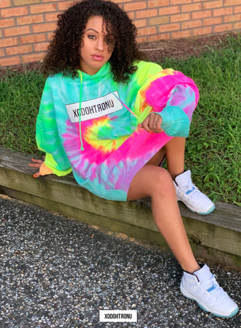 Oversized Highest Act Neon Tie Dye Hoodie  [VAULT]