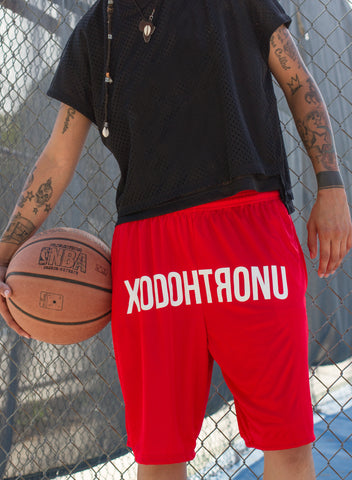 XODOHTRONU Front Stamped Shorts -- Red