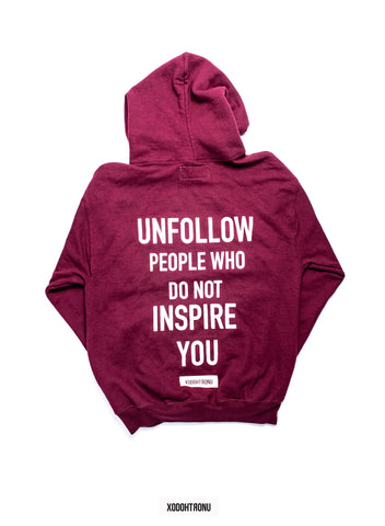 BT- Front Stamped Unfollow James Crop Hoodie Burgandy (Medium) R9