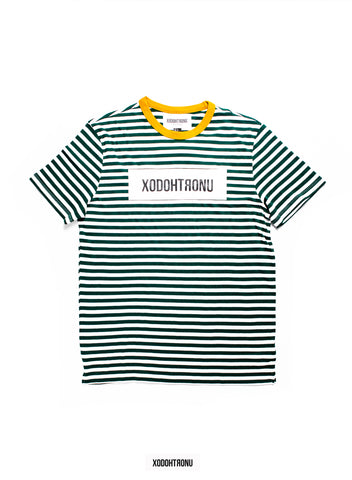 BT- Striped Green Front Stamp Tee (Small/med) R9