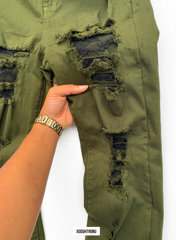 BT- Olive Lace Ripped Jeans [Size 13 women] R13