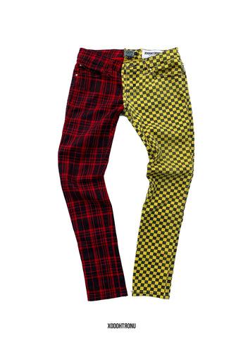 BT- Checker/Plaid Half & Half Jean ft Tripp Nyc [Size 3 women] R13