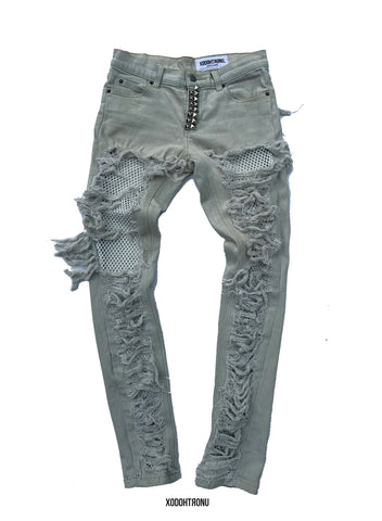 BT- Beige Lace Ripped Jeans [Size 3] R13