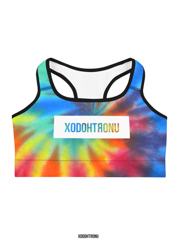 Premium Front Stamped Sports Bra - Tie Dye (Essentials)
