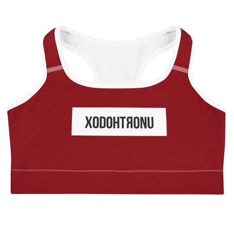 Front Stamped Sports Bra- Red (Essentials)