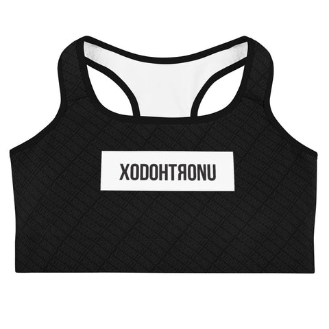Front Stamped Sports bra- Black (Essentials)