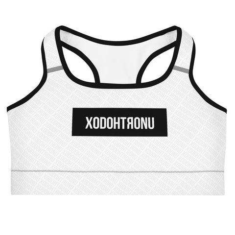Front Stamped Sports bra- White (Essentials)