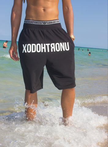 XODOHTRONU Front Stamped Shorts Noir