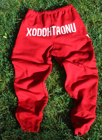 XODOHTRONU Red Front Stamped Sweatpants