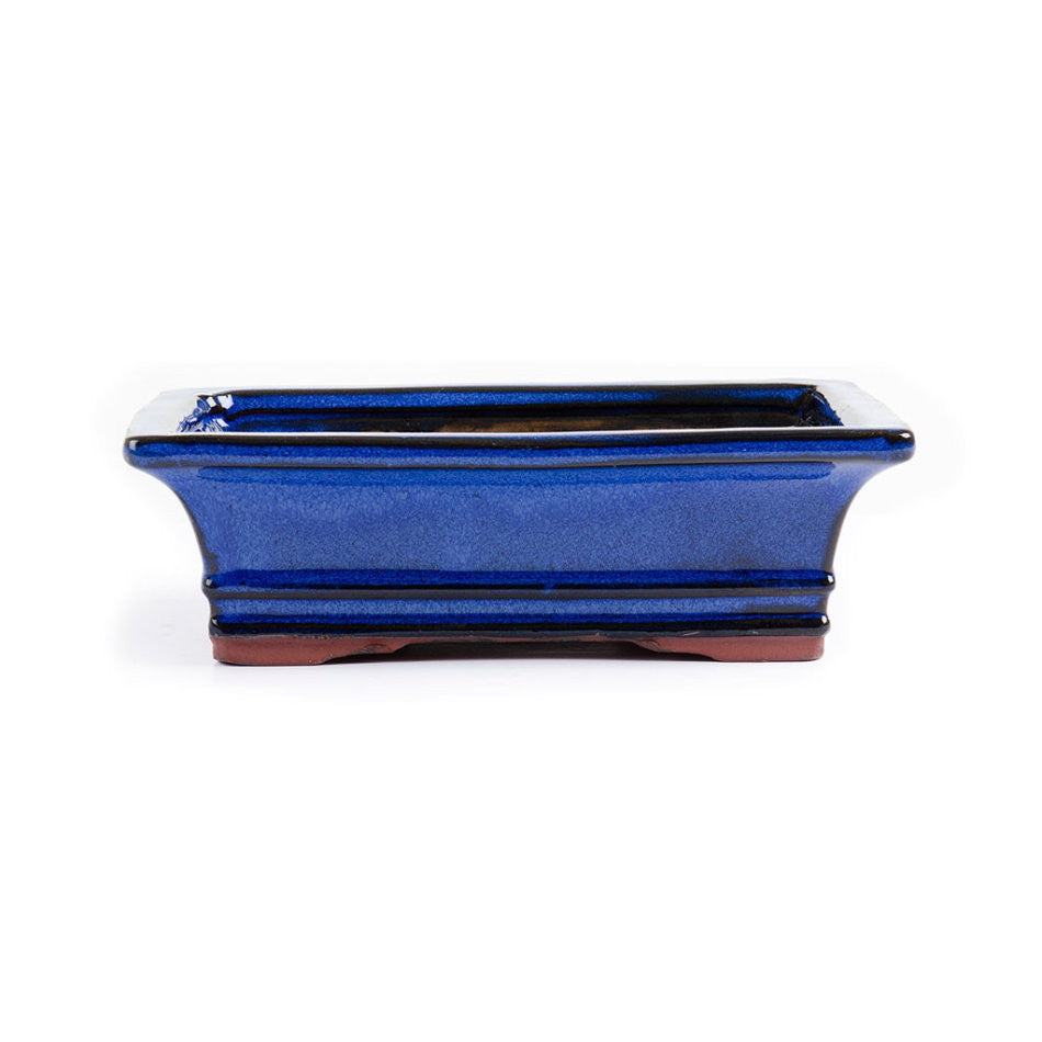 20cm x 15cm x 7cm - Glazed Bonsai Container - Blue