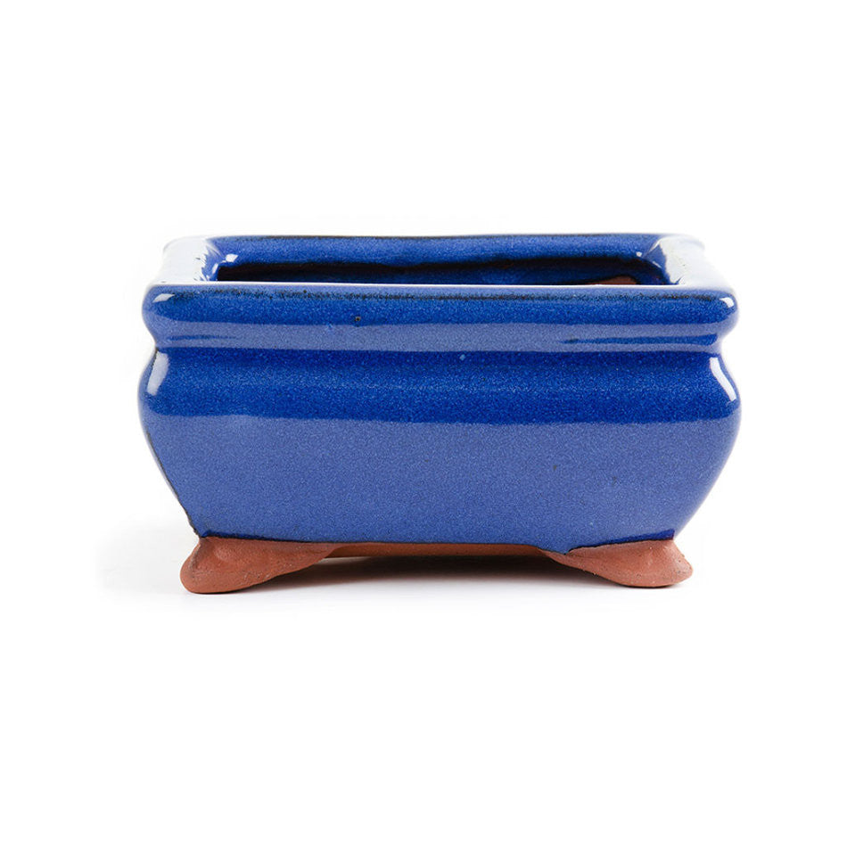 13cm x 11cm x 7cm - Glazed Bonsai Container - Blue
