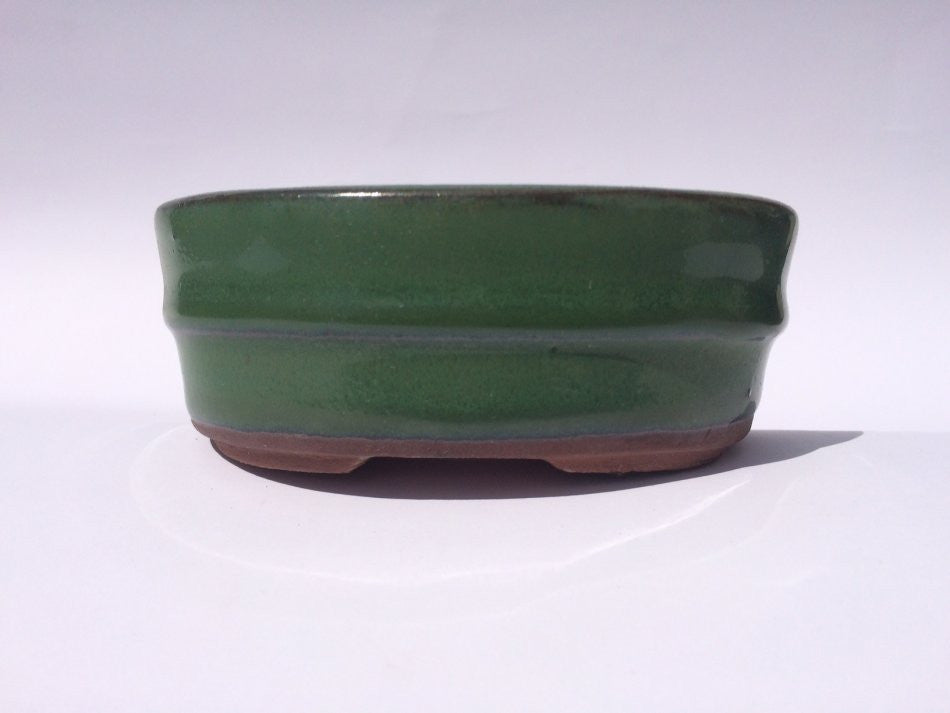 11cm x 9cm x 4cm - Glazed Bonsai Container - Green