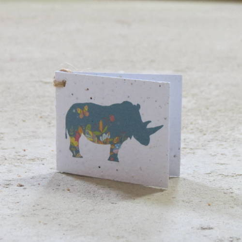 Growing Paper - Gift Tag - Single - Rhino