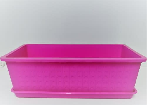 Pink Plastic Rectangular Pot