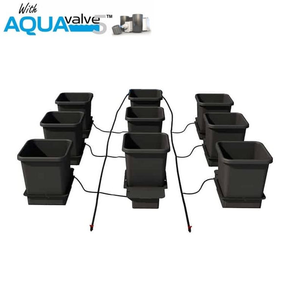 Aquapot 9 Pot System AQUAValve5 with 15L Pots without Tank - Hydroponic Systems