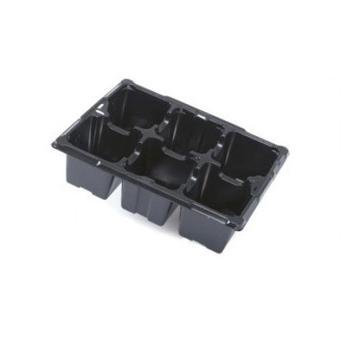 5 pack 6 cell black plastic reuseable seed trays