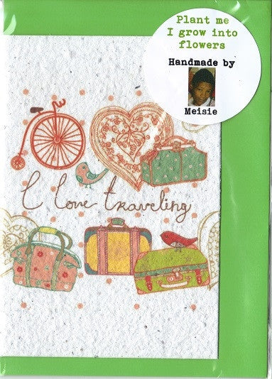 Growing Paper - Greeting Card - I Love Travelling