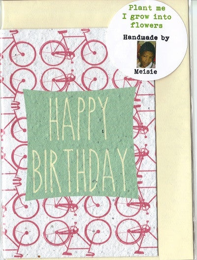 Growing Paper - Greeting Card - Bicycles Happy Birthday