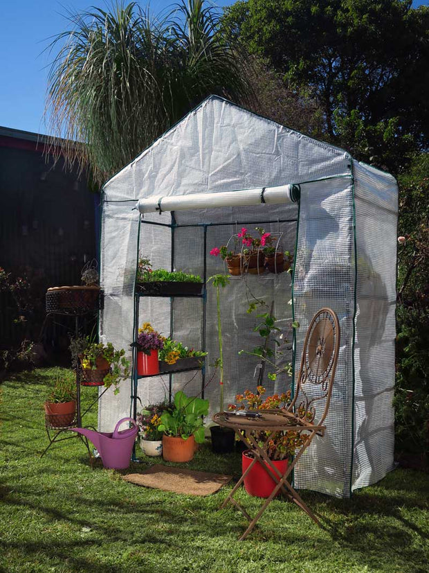 Tiered Walk-in Greenhouse 4 Shelves 155cm x 70cm x 200cm