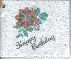 Growing Paper - Single Gift Tag - Happy Birthday Flower