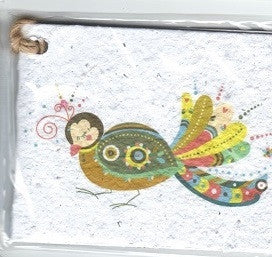 Growing Paper - Single Gift Tag - Peacock