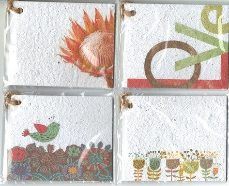 Growing Paper - Gift Tag Pack - 4 Gift Tags - Pack Six