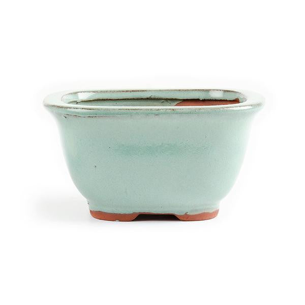 11cm x 8.5cm x 5.5cm Glazed Bonsai Container - Aqua Green