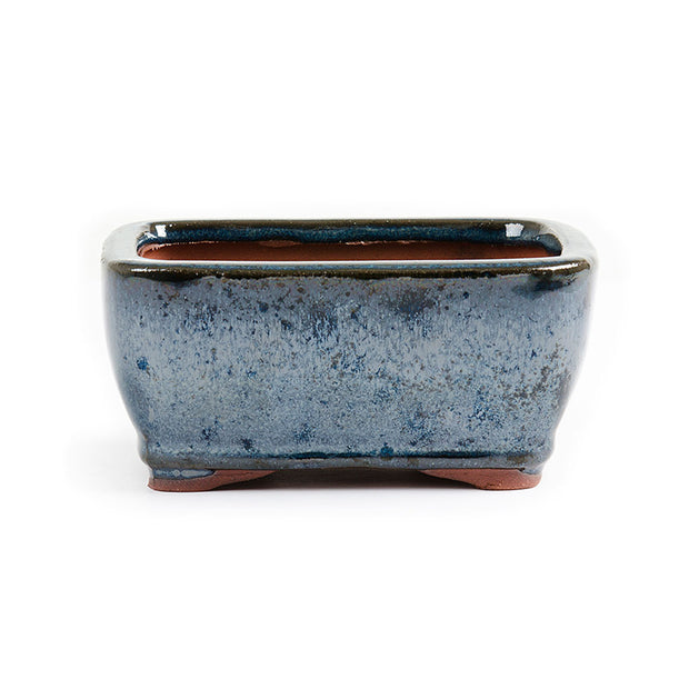 11.5cm x 8.5cm x 5.5cm Glazed Bonsai Container - Dark Aqua Blue
