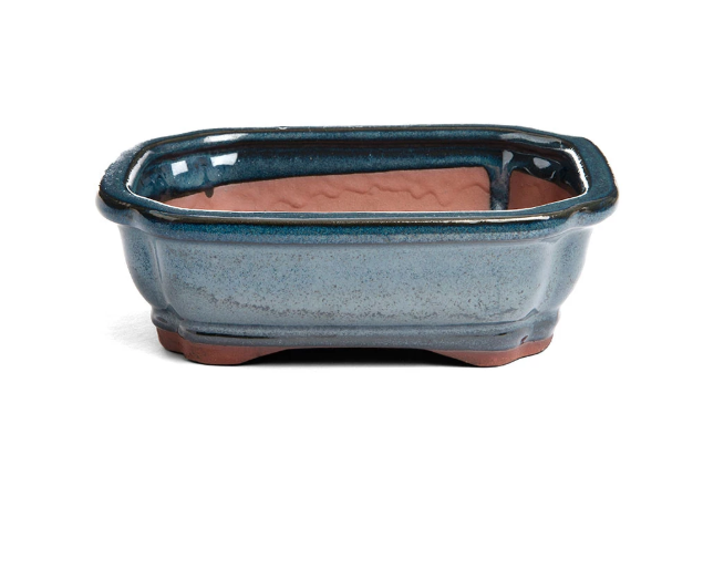 18cm x 14cm x 6cm - Glazed Bonsai Container - Dark Blue / Aqua