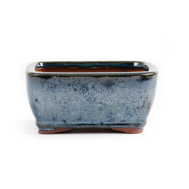 11cm x 8.5cm x 4.5cm Glazed Bonsai Container - Dark Moss Blue